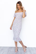 Lola Dress - White/Purple Floral