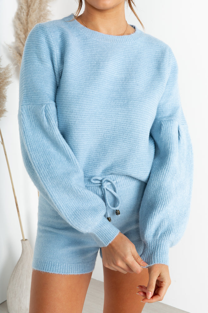 Karma Knit Set - Baby Blue