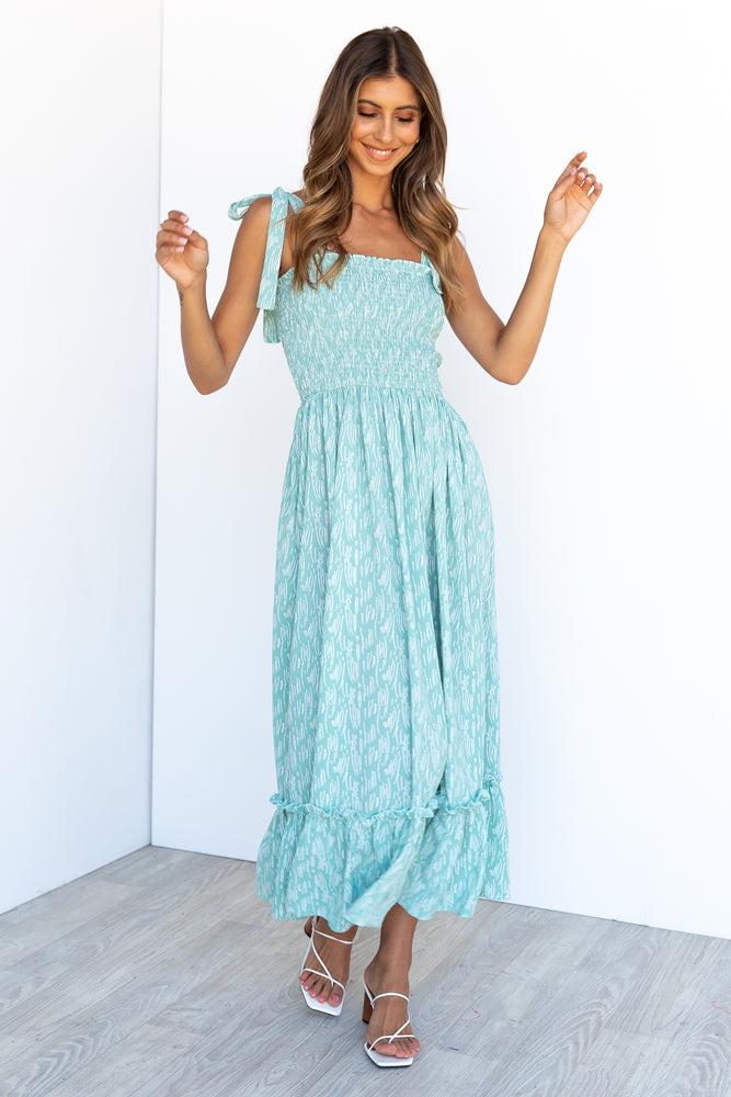 Keely Maxi Dress -Teal/Print