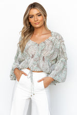 Eryn Top - Green/Paisley