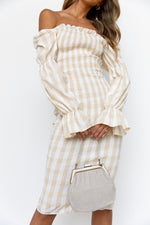 Soleil Dress - Beige/Gingham