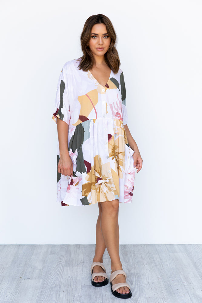 Neesh Dress - White/Floral