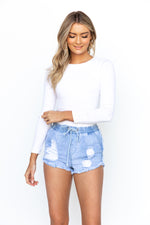 Kirra Denim Shorts - Light Blue