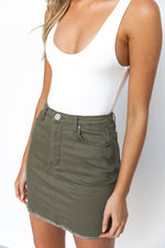 Easton Denim Skirt - Khaki