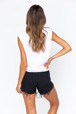 Raw Denim Shorts - Black