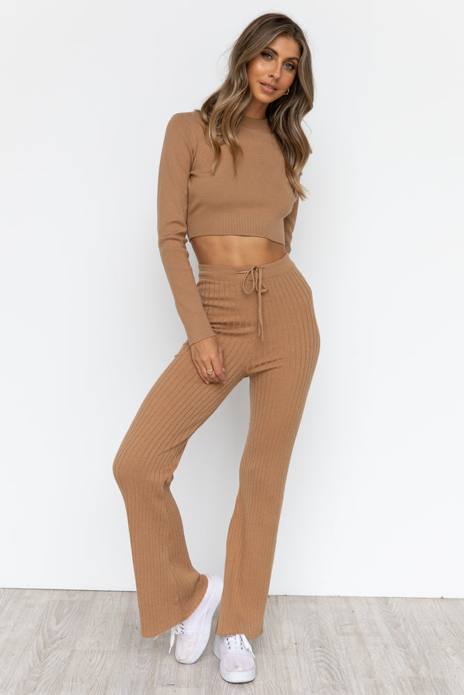 Cassi Knit Pants - Tan