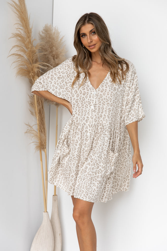Neesh Dress - White Leopard