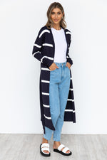 Doja Cardigan - Navy/White Stripe
