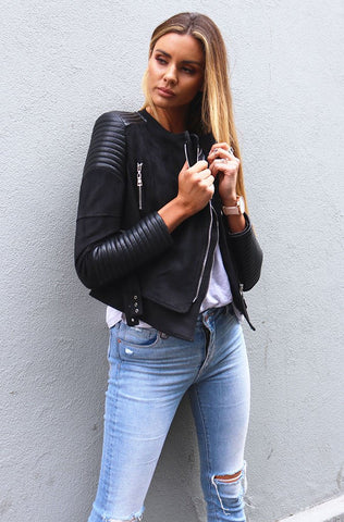 Bessy Biker Jacket - Black -Ivory and Chain