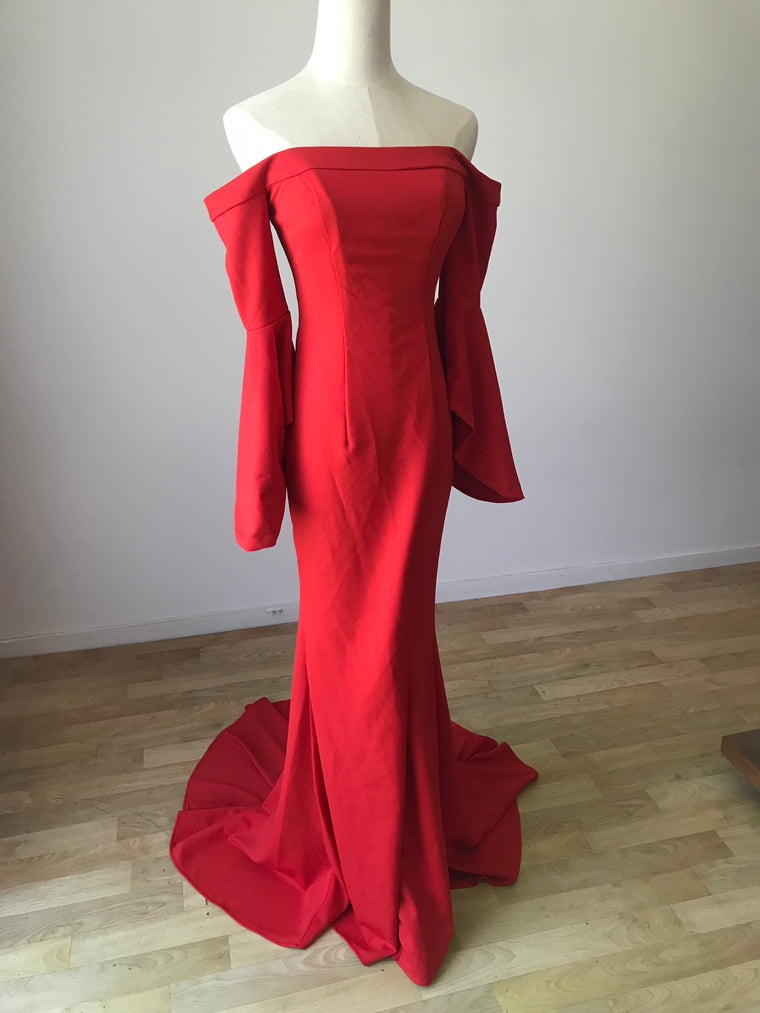 RED OFF SHOULDER GOWN WITH LEG SPLIT