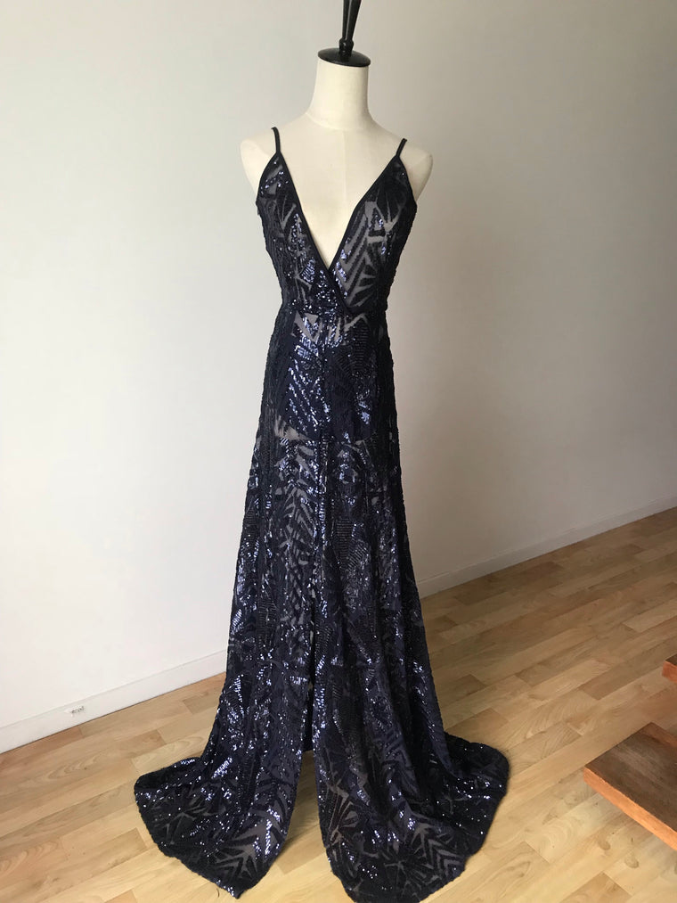 Sheer Sequin Navy Gown - XS