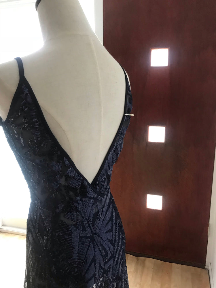 Sheer Sequin Navy Gown - XS -Nouveau Riche Boutique