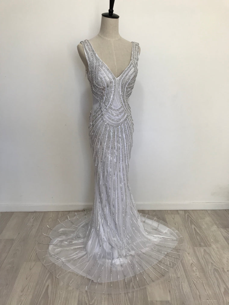 White/Silver Beaded Sequin Gown