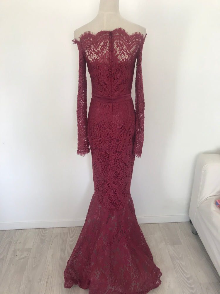 Off shoulder lace gown burgundy Small - STYLE STRUCK