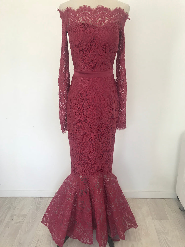 Off shoulder lace gown burgundy Small