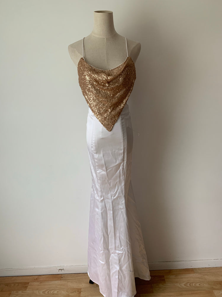 White Satin/ Gold Sequin Sample Gown XS/6