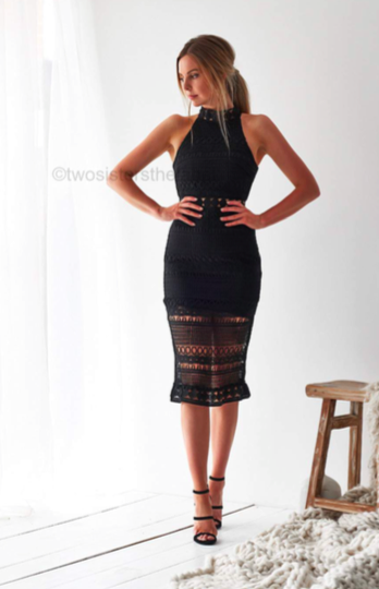 Rivers Midi Dress - Black [Pre order] -Two Sisters The Label