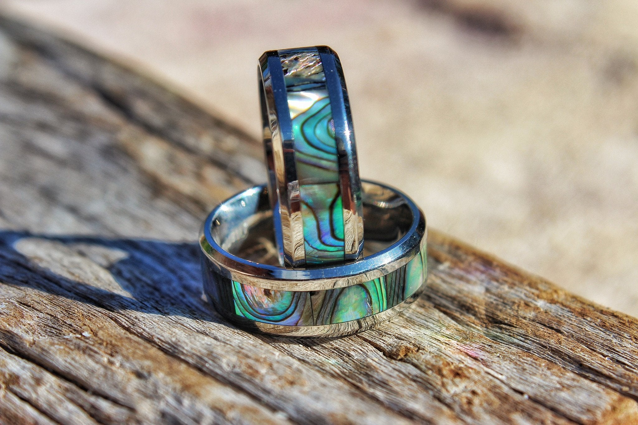 abalone tungsten ring hawaiian inlay picks men rings dome wood affordable women top and wooden koa for wedding