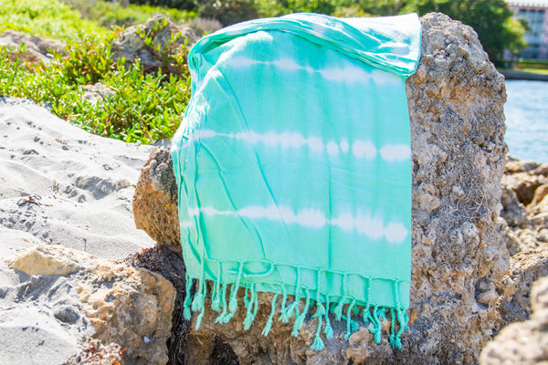 Sea Foam Tie-Dye Beach Towel