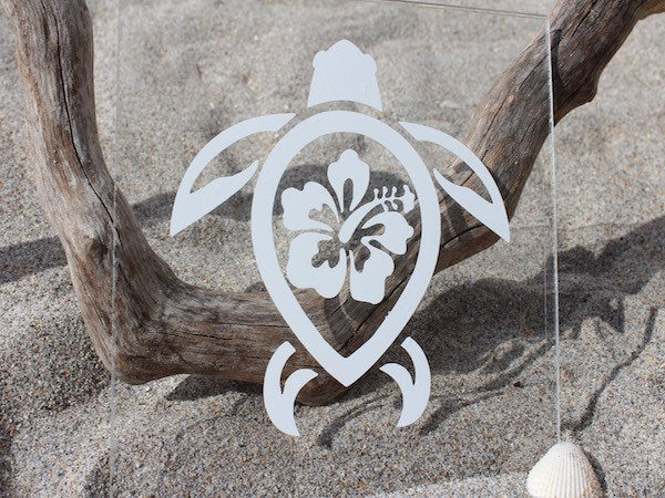 Hibiscus Sea Turtle Vinyl Decal