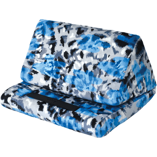 Blue tie dye soft memory foam filled fleece covered tablet / ipad pillow. For boys or girls. From iScream.