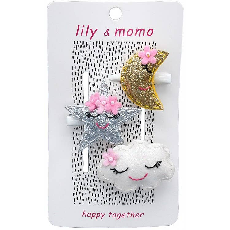 Lily & Momo Trio Hair Clips | Starlight Moon Kisses