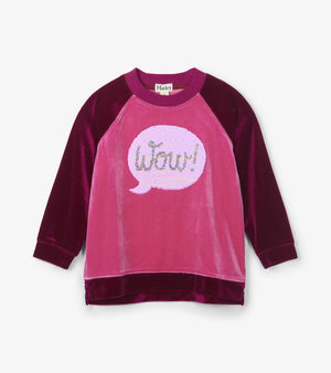 Hatley Kids Girls Flip Sequin Chat Velour Pullover WOW