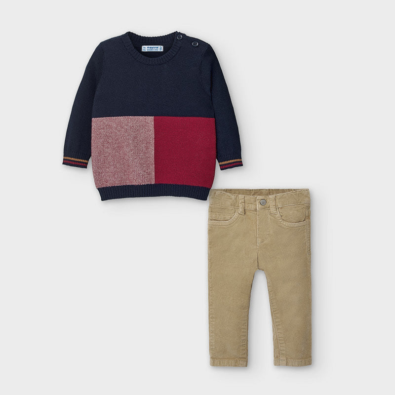 Mayoral | Color-block Sweater with Corduroy Pants Set | Baby Boy (NEW)