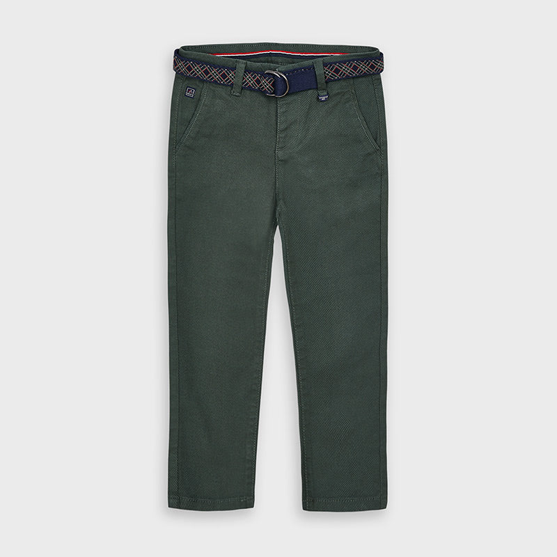Mayoral | Long Chino Pant with Belt | Pine