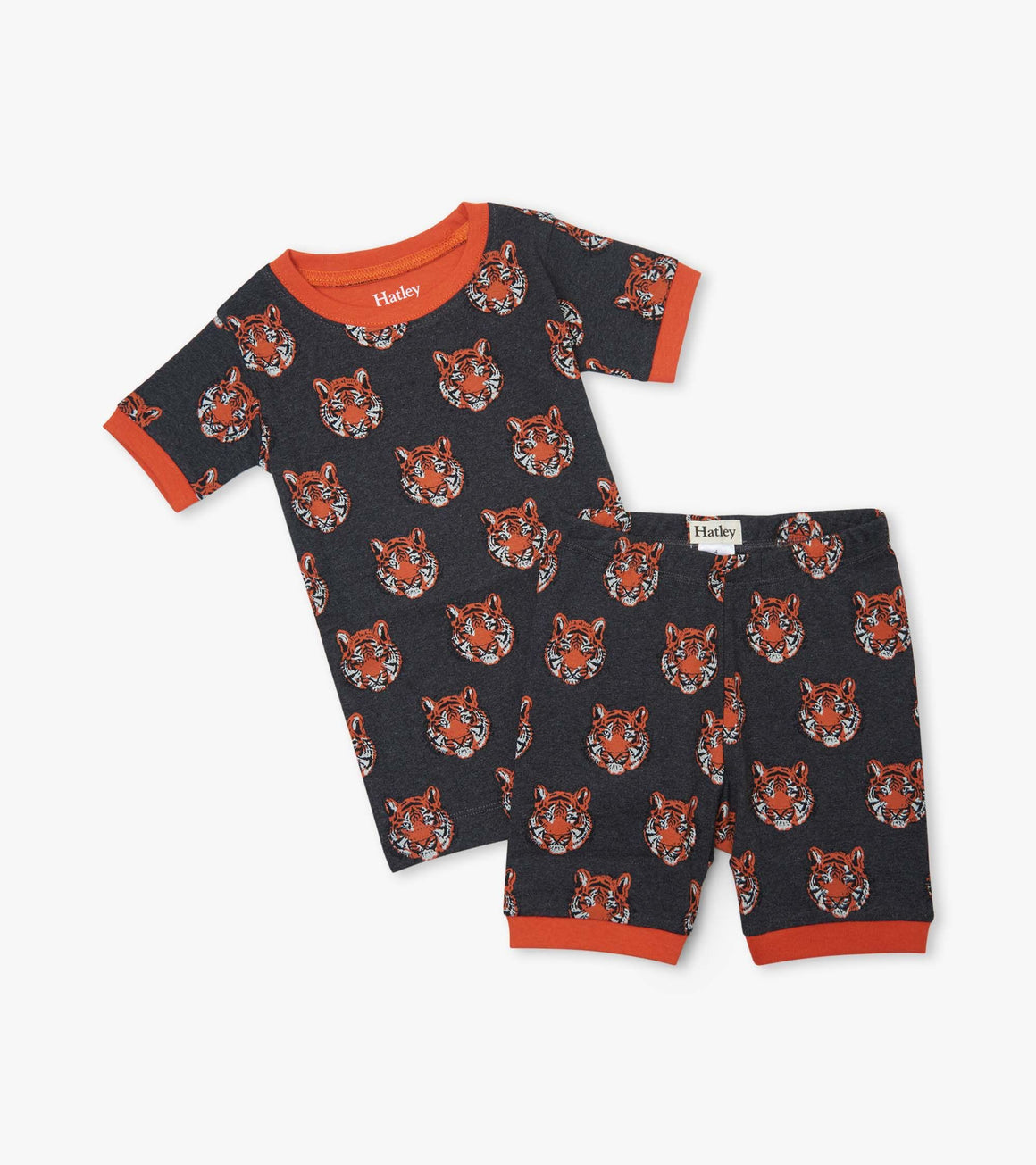 Boys short sleeve and short pajama set in 100% organic cotton. Charcoal grey background with fierce orange tigers print.
