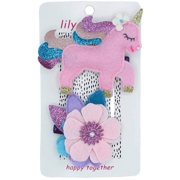 Lily & Momo Pretty Pastel Unicorn Hair Clips