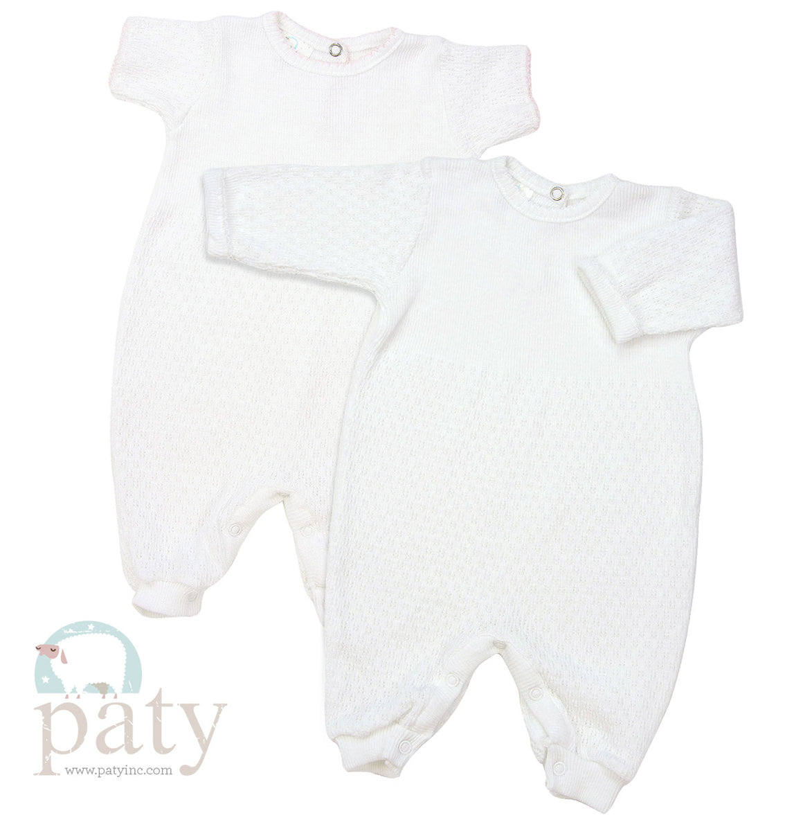 Paty | Long Sleeve Romper with Keyhole Back | White
