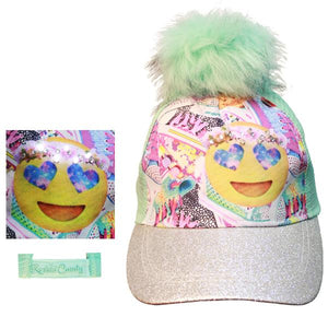 American Jewel Rockin' Candy Pom Pom Emoji Light Up Cap