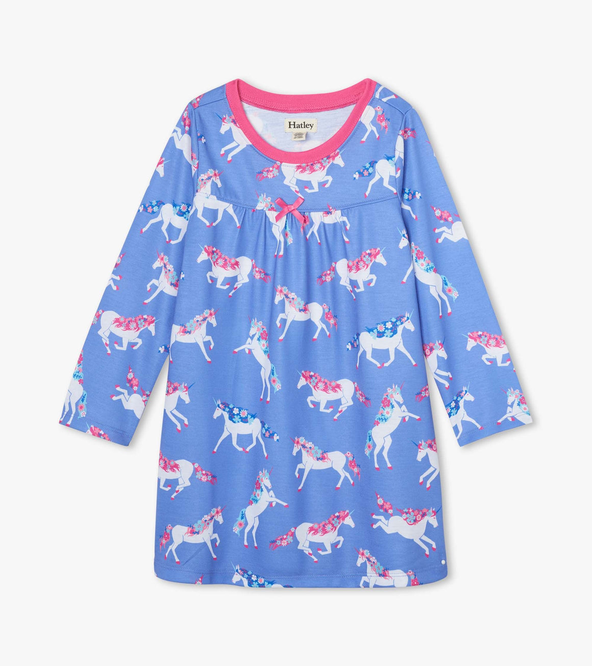 Girls long sleeve night gown in periwinkle blue with dreamy unicorns with flowers in their hair.