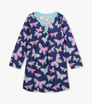 Girls long sleeve soft nightgown on navy background with beautiful butterflies print.