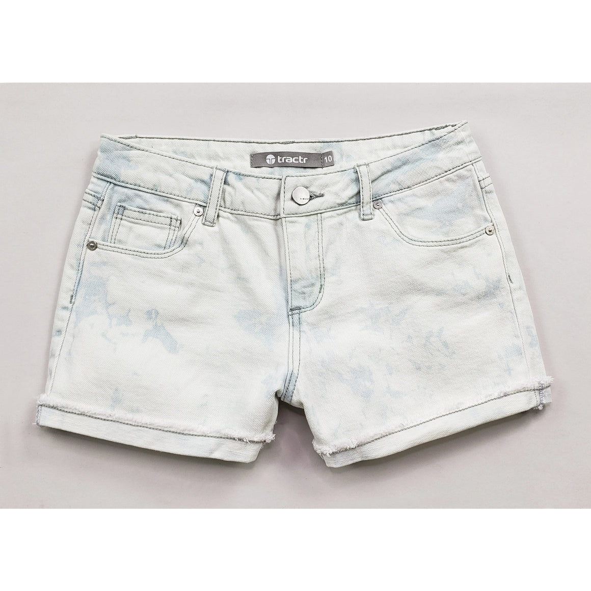 Tractr Girls | Brittany Mid-Rise Cuffed Shorts | Tie Dye Bleached Denim