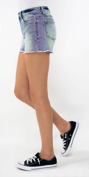 Tractr Girls | Brittany Fray Hem Denim Shorts | Ombre Tinted