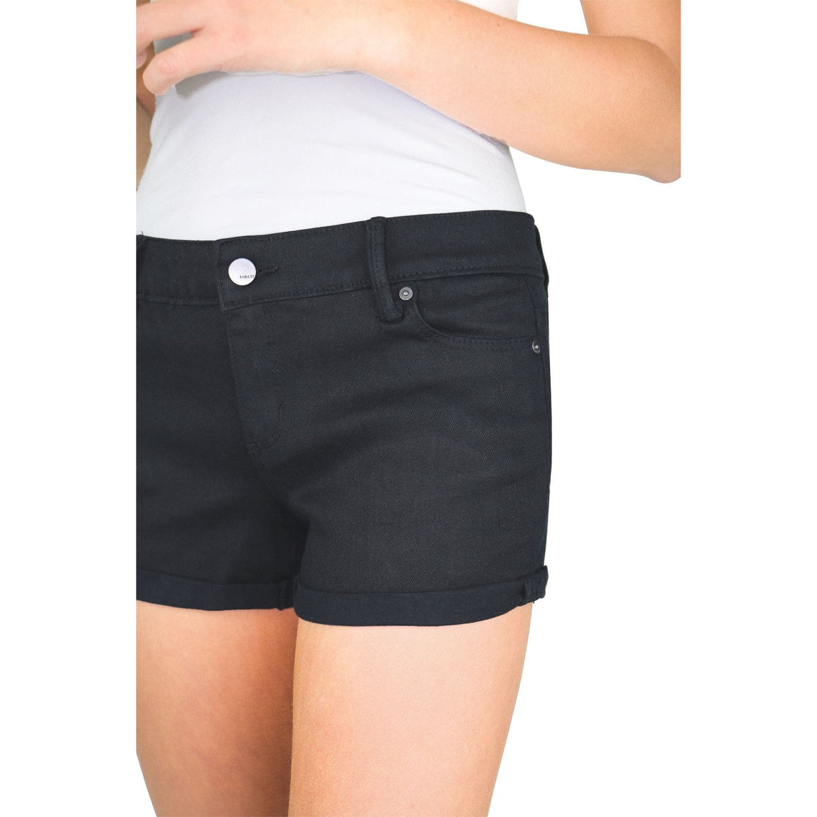 Tractr Girls | 5 Pkt Basic Mini Roll Shorts | Black