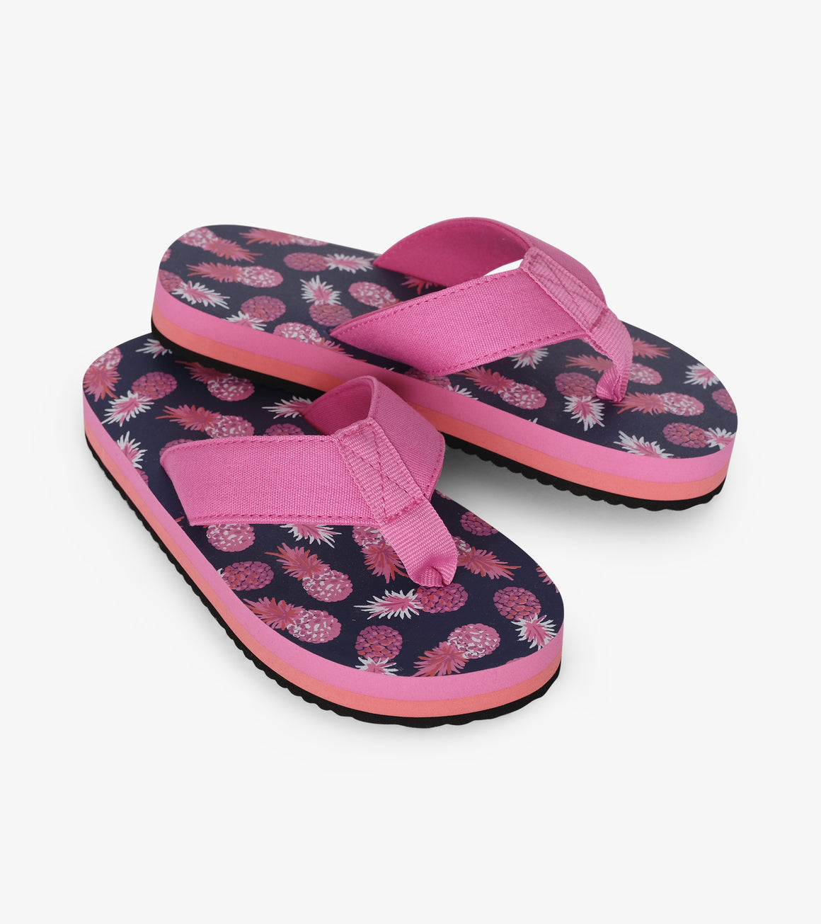 hot pink and navy pineapple print girls flip flops