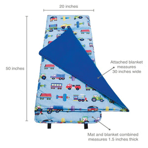 Wildkin Olive Kids Trains Planes and Trucks Original Nap Mat details