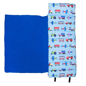 Wildkin Olive Kids Trains Planes and Trucks Original Nap Mat inside of blanket