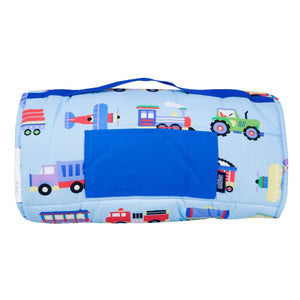 Wildkin Olive Kids Trains Planes and Trucks Original Nap Mat rolled up