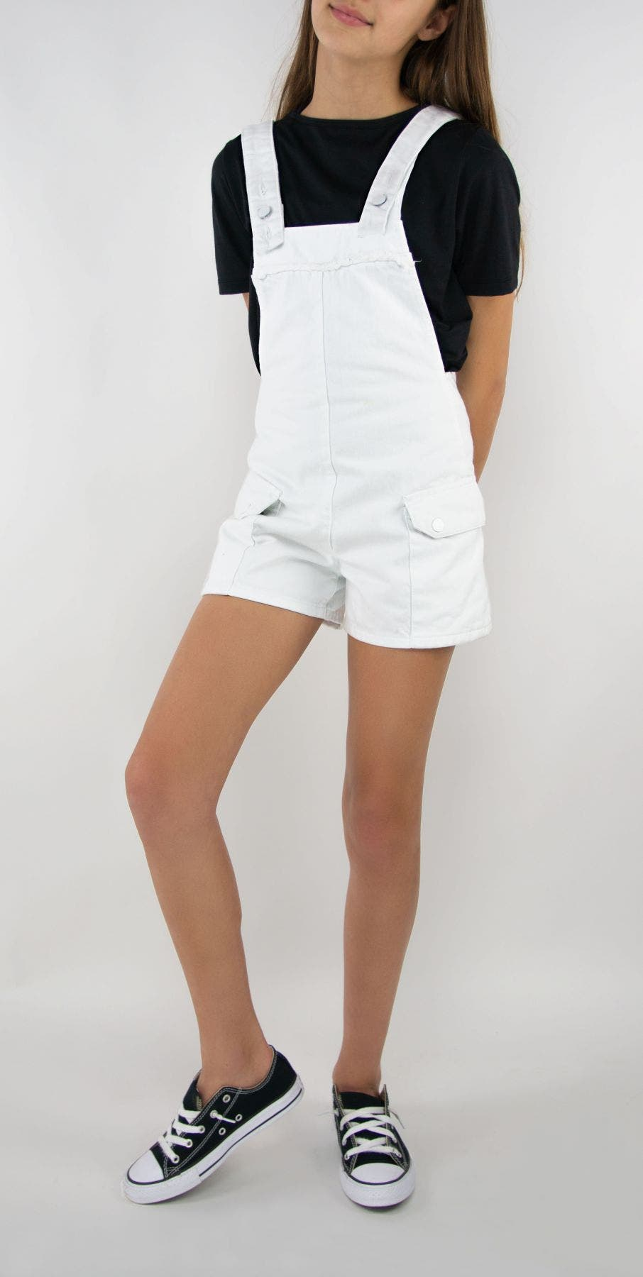 Tractr Girls | Saddle Pocket Romper Overalls | White