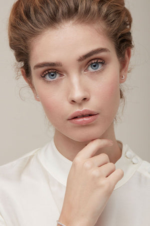 Estella Bartlett | Pave Moon Earrings ON MODEL