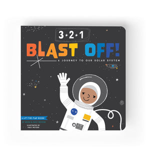 3-2-1 Blast Off! A Journey to our Solar System. A lift the flap board book for baby's and children. From Lucy Darling.