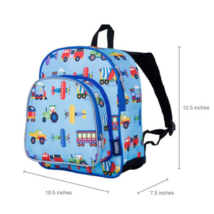 "Wildkin Olive Kids Trains Planes and Trucks Toddler 12"" Backpack sizing"