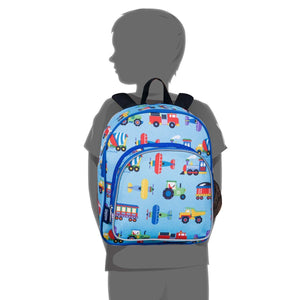"Wildkin Olive Kids Trains Planes and Trucks Toddler 12"" Backpack size on child"