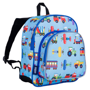 "Wildkin Olive Kids Trains Planes and Trucks Toddler 12"" Backpack"