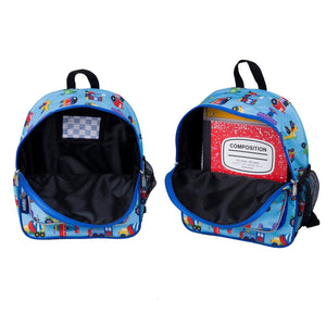 "Wildkin Olive Kids Trains Planes and Trucks Toddler 12"" Backpack inside view"