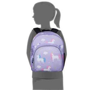 "Wildkin Olive Kids Unicorn Toddler 12"" Backpack size on child"